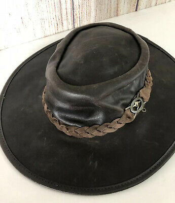 $ CDN33.06 • Buy SQUASHY GRIZZLY HATTERS Adult M Leather Hat Australia Tasmania Packable Travel