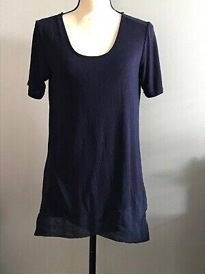 $ CDN1.31 • Buy Anthropologie Pebble And Stone Blouse Women Size S Small Navy Blue Tie Back