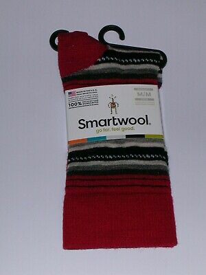 $13.88 • Buy SmartWool Margarita Merino Wool Crew Socks Women's Medium NWT Crimson Red/Black