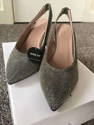 Ladies Size 6 Dorothy Perkins Pewter Court Shoe Wide Fit • 9£