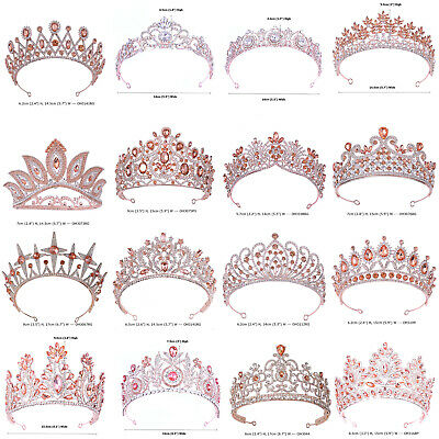 AU18.99 • Buy 38 Styles Rose Gold Crystal Queen Princess Tiara Crown Wedding Party Pageant