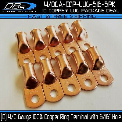 AU28.77 • Buy 10 4/0 Gauge 5/16  Hole Copper Ring Terminal Lug Battery Cable Wire Connector