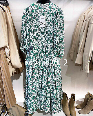 $44.76 • Buy Zara New Woman Long Floral Print Dress Ruffle Oyster White Green Xs-xxl 4786/070