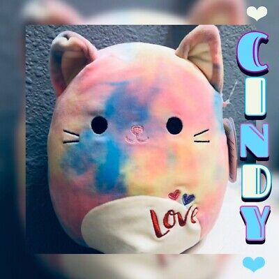 "$ CDN19.20 • Buy NWT Squishmallows Kellytoy CINDY 8"" Tie Dye Kitty Cat Plush Valentines"