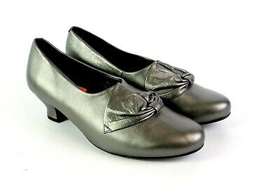 HOTTER Donna Pewter Grey Leather Low Block Heel Comfort Shoes UK 5.5  • 9.99£