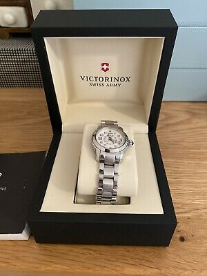 £140 • Buy Victorinox Swiss Army Vivante Dual Ladies Watch Stainless Steel With White Face