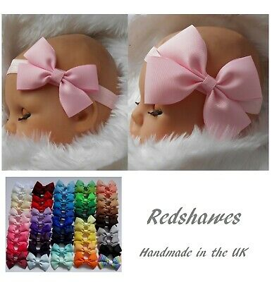 Large Bow Baby Headband Soft Elastic 3 Or 4 Inch Bow Birthday All Sizes UK Made • 1.50£
