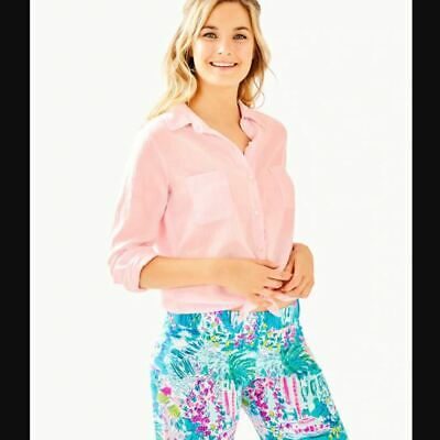 $59.26 • Buy Lilly Pulitzer NEW Womens Size Medium Pink Sea View Button Down Top