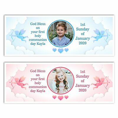 Personalised Angel Clouds Photo Name Holy Communion Banner Wall Decorations  • 4.99£