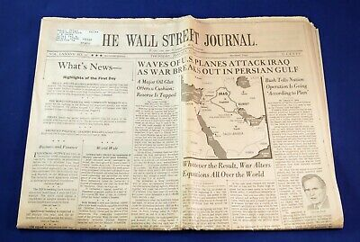 $5 • Buy Vintage Wall Street Journal Beginning Of The Gulf War Dated January 17, 1991