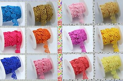 2M 1.30 CM Beautiful Daisy Fine Flower Edge Lace Trim Colours Guipure For Sewing • 3.25£