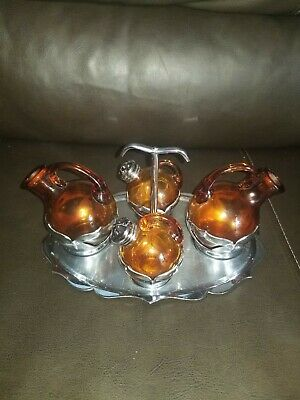 $39.99 • Buy Farber Bros Krome Amber Glass Salt And Pepper Shakers Set