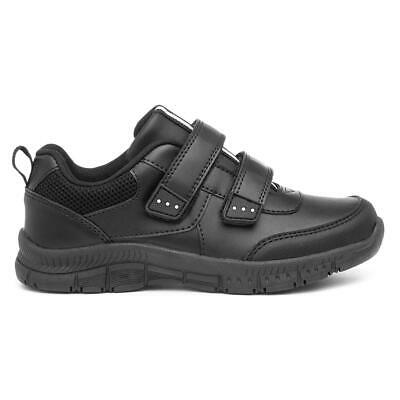 Trux Boys Black Coated Leather Easy Fasten School Shoes • 14.99£