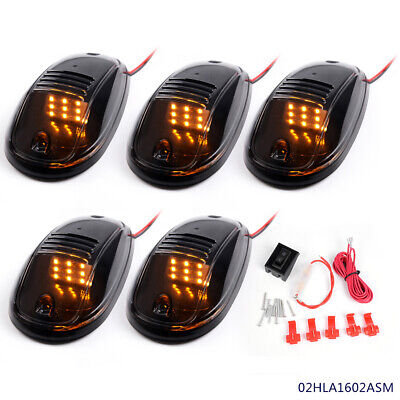 $15.90 • Buy For Truck SUV Smoked Roof Top Cab Clear Lights 9 Amber LED Marker Lamps Kit 5PCS