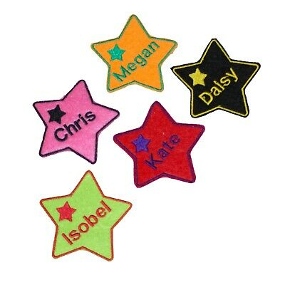 Personalised Embroidered Name In Star Patch Badge Many Colours Iron On Sew On A4 • 2.89£