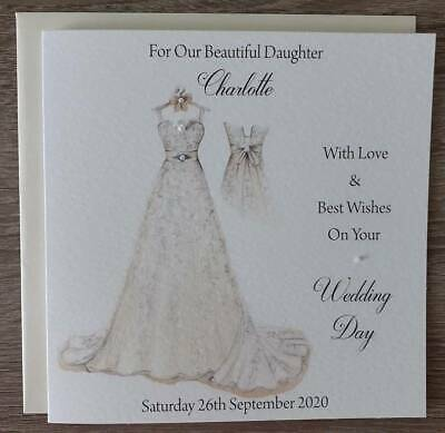 £3.99 • Buy Handmade 6  Square Personalised Wedding Card For The Bride FAST POSTAGE