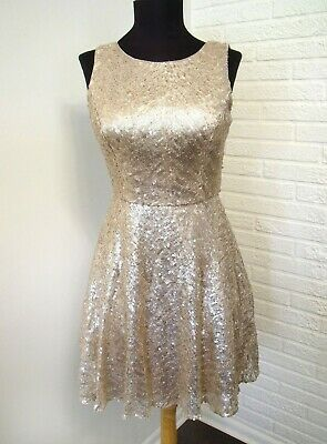 $25.95 • Buy Aidan Mattox Gold Sequined Dress - Size 2 Extra Small - Perfect Party Dress