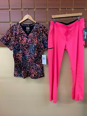 $31 • Buy NEW Pink Print Scrubs Set With Barco One XL Top & Grey's Anatomy XL Pants NWT
