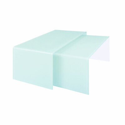 Nest Of 2 Coffee Tables Aqua Green Bent Glass Living Room Furniture Set Modern • 381.99£