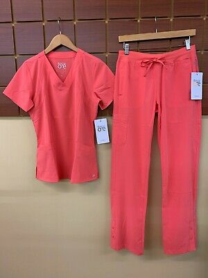 $12.50 • Buy NEW Barco One Coral Solid Scrubs Set With Small Top & Small Pants NWT