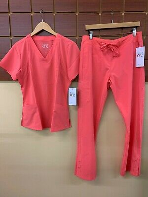 $20 • Buy NEW Barco One Coral Solid Scrubs Set With Medium Top & Medium Pants NWT