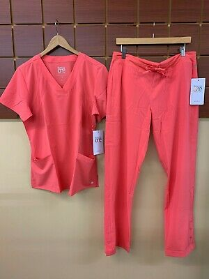 $20 • Buy NEW Barco One Coral Solid Scrubs Set With Large Top & Large Pants NWT