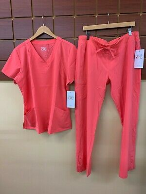 $15.50 • Buy NEW Barco One Coral Solid Scrubs Set With XL Top & XL Pants NWT
