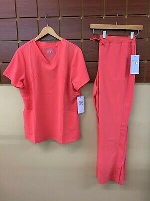$20 • Buy NEW Barco One Coral Solid Scrubs Set With 2XL Top & 2XL Pants NWT