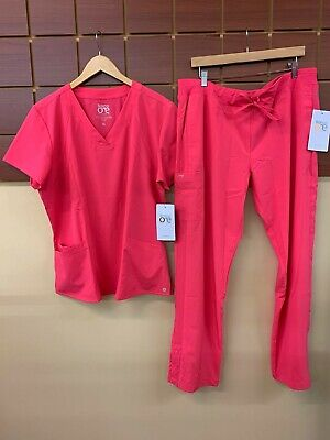 $10.50 • Buy NEW Barco One Pink Lemonade Solid Scrubs Set With XL Top & XL Pants NWT