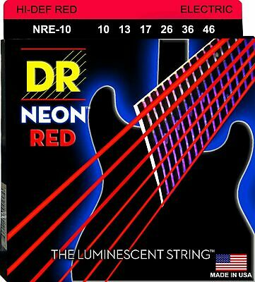 $ CDN16.33 • Buy DR Strings NRE-10 Neon Red Coated Medium Black Light Electric Guitar 10-46
