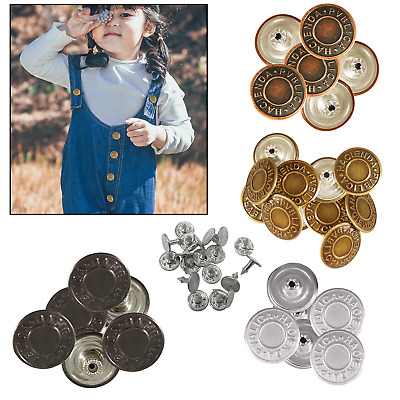 £3.29 • Buy 19/25mm Denim Brass Studs Replacement Hammer On Jeans Buttons DIY Jacket Trouser
