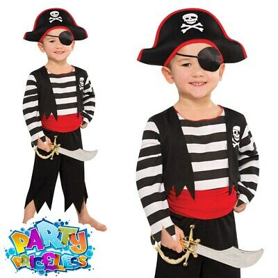 £8.99 • Buy Kids Toddler Pirate Costume Deckhand Captain Hook Fancy Dress Boys Girls Outfit