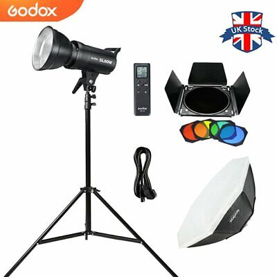 Godox SL-60W 5600K LED Video Light+BD-04 Barn Door+95cm Softbox+2m Light Stand • 139£