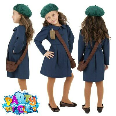 Kids 1940s Wartime School Girl Costume Book Day Girls Fancy Dress Outfit • 10.49£