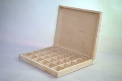 Wooden Tray Box 30 Compartment Display Storage Section Jewellery Keepsake Lided • 14.99£