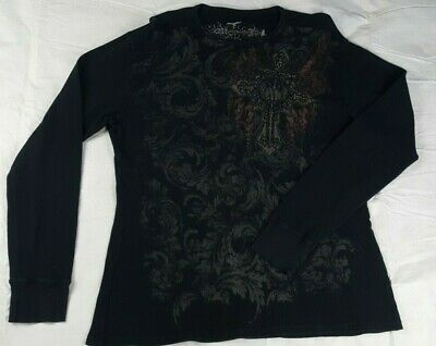 $14.95 • Buy Manchester ESC Mens XL Long Sleeve Thermal Pullover Casual Shirt Black Graphic