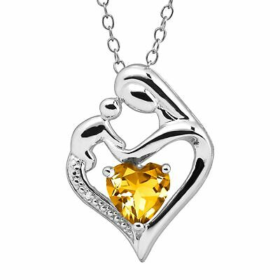 $24 • Buy Gemstone Mother And Child Heart Pendant With Diamond In Sterling Silver, 18