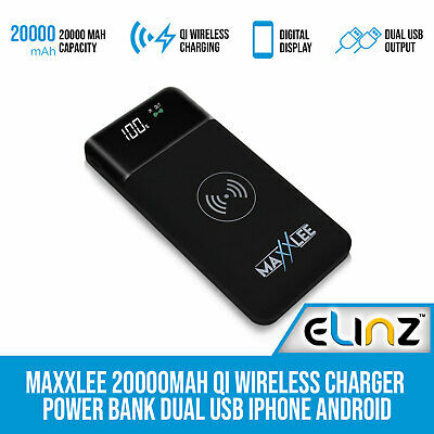 AU42 • Buy Maxxlee 20000mAh Qi Wireless Charger Power Bank Dual USB IPhone Android