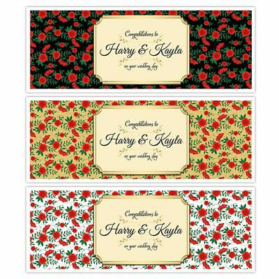 X 2 Personalised Wedding Congratulations Banner Flower Pattern Party Decoration • 3.99£