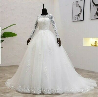 AU323.25 • Buy UK Plus Size Light Ivory Long  Sleeve Lace A Line Modest Wedding Dress Size 6-22