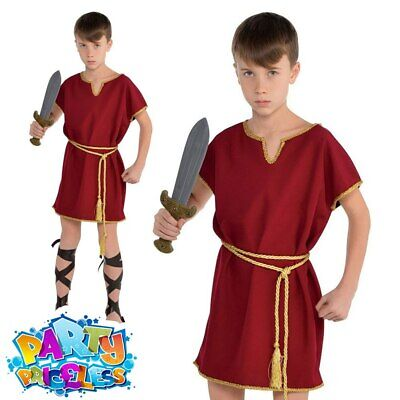 £5.99 • Buy Kids Boys Roman Tunic Costume Toga Warrior Burgundy Book Day Fancy Dress Outfit