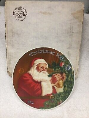 "$ CDN4 • Buy Norman Rockwell "" Santa's Golden Gift"" 1987 Plate"