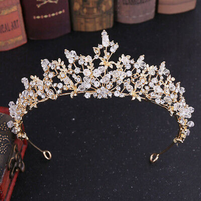 AU18.99 • Buy 5.6cm High Leaves Crystal Tiara Crown Wedding Bridal Party Pageant Prom 3 Colour