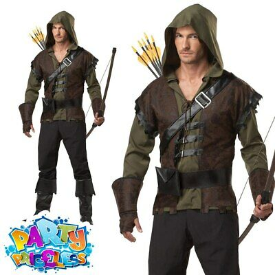 Adult Mens Deluxe Robin Hood Costume Medieval Archer Book Day Week Fancy Dress • 38.99£