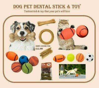 NEW Rawhide Twists Sticks Dog Chew Beef Hide Ring, Bone & Rubber Toys For Pet • 3.49£