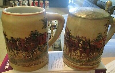 $ CDN189.46 • Buy Budweiser's Champion Clydesdales Holiday Stein Lidded & Unlidded 1980 CS19, CS29