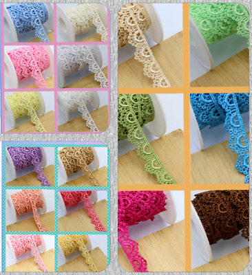 2 M 1.35cm Beautiful Daisy Fine Scallop Edge Lace Trim Colour Guipure For Sewing • 3.29£