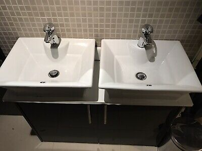 Pair Of Square Counter Top Ceramic Washbasins With Matching Chrome Mixer Taps • 16£