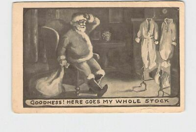 £4.82 • Buy Antique Postcard Christmas Santa Next To Fireplace Goodness Here Goes My Whole S