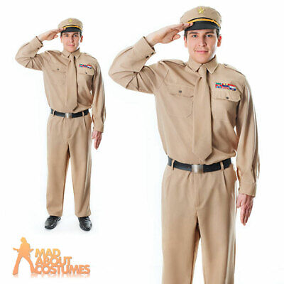 Adult Mens WW2 Army General Costume 40s US Soldier GI Uniform Fancy Dress Outfit • 26.99£